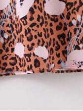 Flower Print Leopard Long Sleeve Maxi Dress