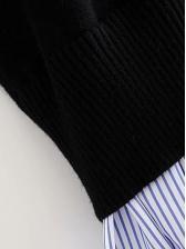 Patchwork Striped RaggedEdge Turtleneck Sweater