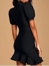 Mock Neck Ruffled Hem Black Short Sleeve Dress