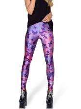 Fashionable Printing Purple High Waisted Leggings