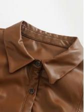 PU Turndown Neck Short Sleeve Maxi Dress