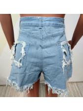 Sexy Sequined Pocket Tassel Denim Shorts