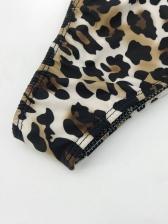 Boat Neck Lantern Sleeve Leopard Print Swimwear