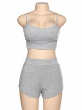 V Neck Gray Crop Sports Shorts Women