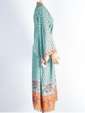 Bohemia Style Print Long Sleeve Swimsuit Cover Ups