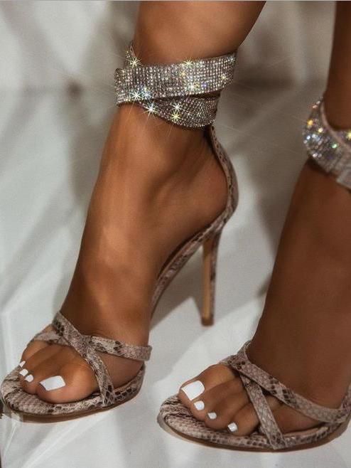 Sexy Rhinestone Stiletto Snakeskin Sandals