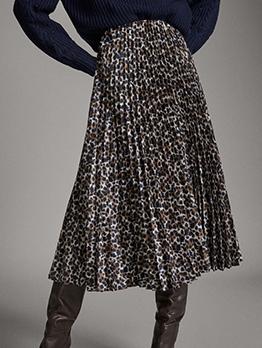 Ruched Midi Leopard Print Skirt