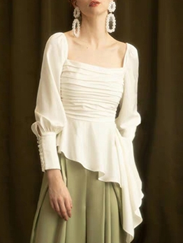Irregular Hem Ruffled Back Tie White Blouse