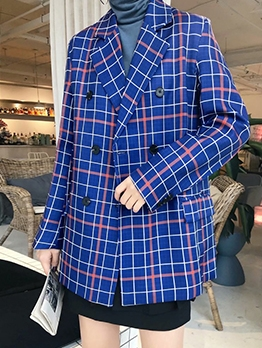 Double Breasted Blue Plaid Blazer