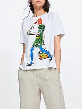 Cartoon Printed Short Sleeve T Shirt