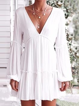 V Neck White Long Sleeve Dress