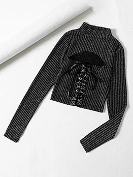 Front Bandage Cutout Black T Shirt