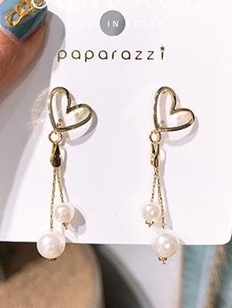 Sweet Heart Shape Faux Pearl Earrings For Women
