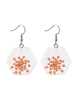 Transparent Acrylic Geometric Flowers Earrings