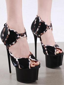 Leopard Printed Cutout Peep Toe Platform Heels