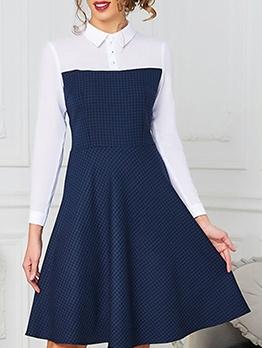 Chic Plaid Patchwork Shirt Dresses For Women