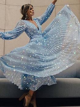 Glitter v Neck Long Sleeve Blue Maxi Dress