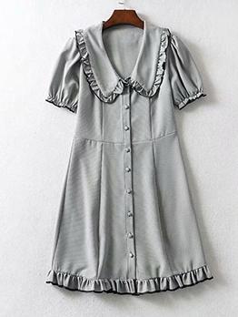 Doll Collar Stringy Selvedge Short Sleeve Mini Dress