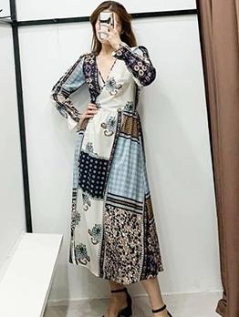 Printed V Neck Long Sleeve Midi Dress