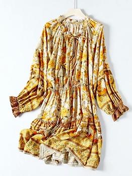 Tassel Lace-Up Flower Printed Long Sleeve Dress