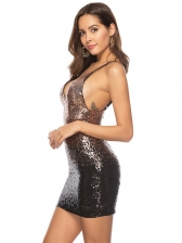 Gradient Color Sequin Sleeveless Bodycon Dress