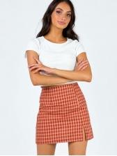 Classic Plaid Split Hem Women Short Skirt
