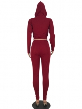 Sport Style Hooded Collar Red Two Piece Pants Set