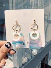 Geometrical Shape Asymmetrical Drop Earrings