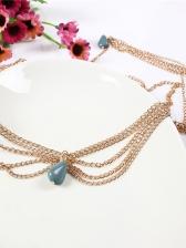 Ethnic Style Golden Chain Stone Pendant Headwear