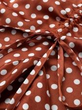 Lustrous Polka Dots Ruffled Slit Sleeveless Sundress