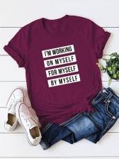 Letter Print Short Sleeve Cotton T Shirt