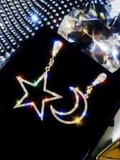 Asymmetrical Pentagram Moon Diamond Earrings