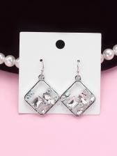 Hollow Out Geometric Rhinestones Silver Earrings