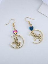 Semicircular Heart Unicorn Golden Drop Earrings
