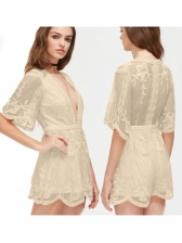 V Neck Short Sleeve Embroidery Lace Romper