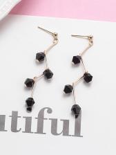 Black Crystal Alloy Material Earrings For Women