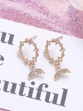 Golden Fishtail Shape Rhinestone Earrings For Women