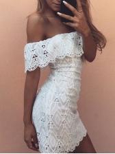 Off Shoulder Short Sleeve White Lace Dress