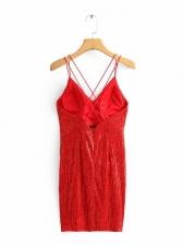 Crossed Belt Backless Glitter Sequin Mini Dress