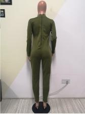 Pure Color Long Sleeve Jumpsuit