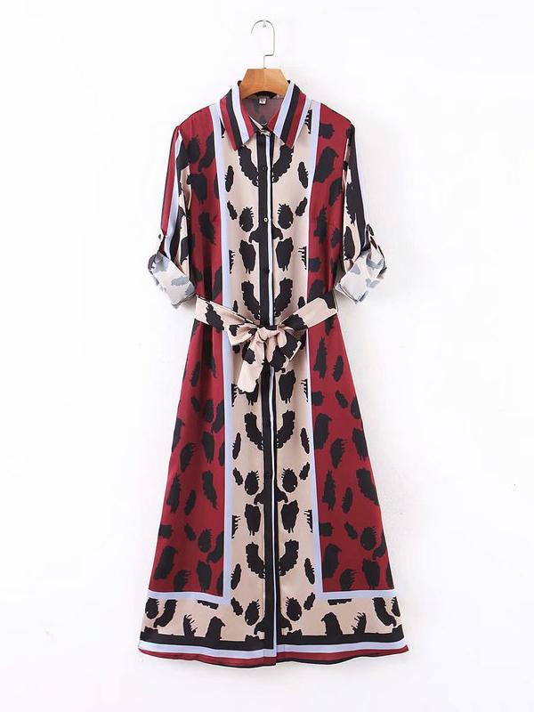 Contrast Color Button Down Maxi Dresses For Women