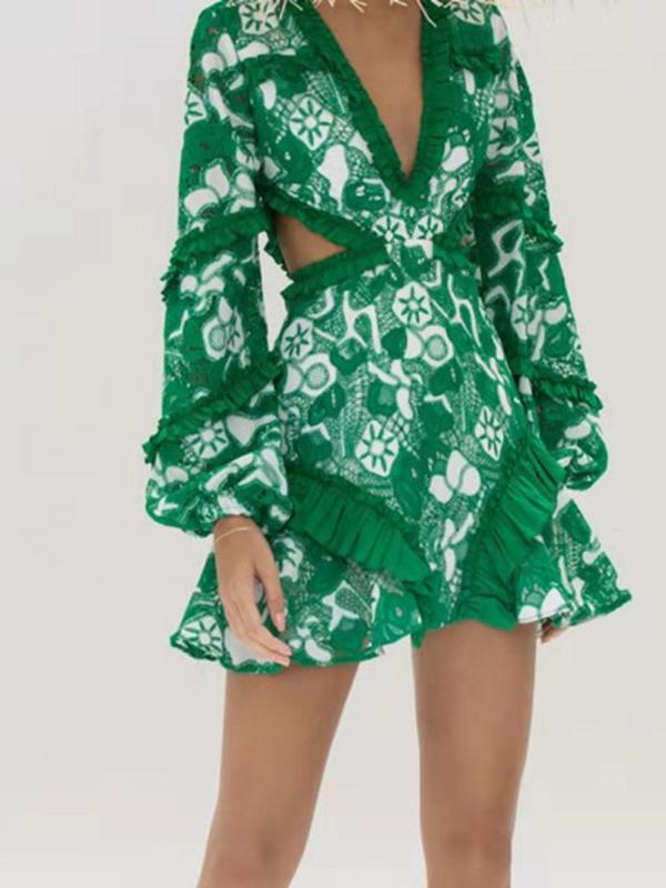 Boutique V Neck Stringy Selvedge Cutout Ladies Dress