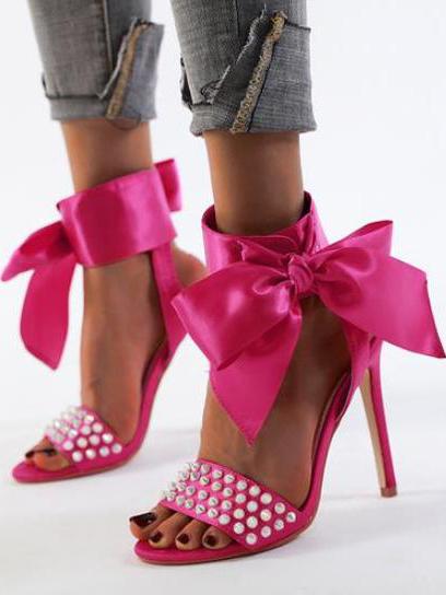 Rivet Bow Decor Sexy Sandals