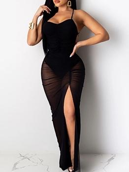 Split Solid Backless Sleeveless Long Dress