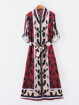 Contrast Color Button Down Maxi Dresses For Women