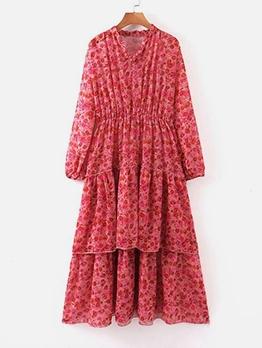 Elastic Waist Print Layered Casual Maxi Dresses