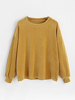 Pure Color Yellow Crewneck Sweatshirt