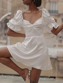 V Neck Satin Short Sleeve White Dress