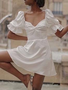 V Neck Satin Short Sleeve White Dress