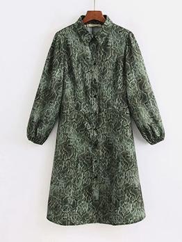 Turndown Collar Snake Print Long Sleeve Dress